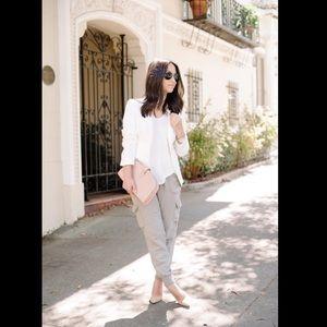Linen Blend Tan Capri Cargo Pants